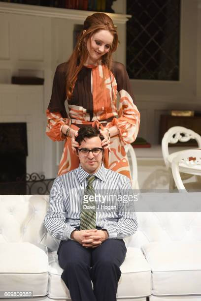 Actors Simon Bird and Lily Cole rehearse ahead of Thursday's official West End opening of The Philanthropist directed by Simon Callow at Trafalgar...