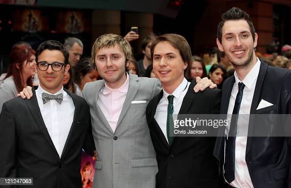 Actors Simon Bird James Buckley Joe Thomas and Blake Harrison attend the world film premiere of The Inbetweeners Movie at Vue West End on August 16...