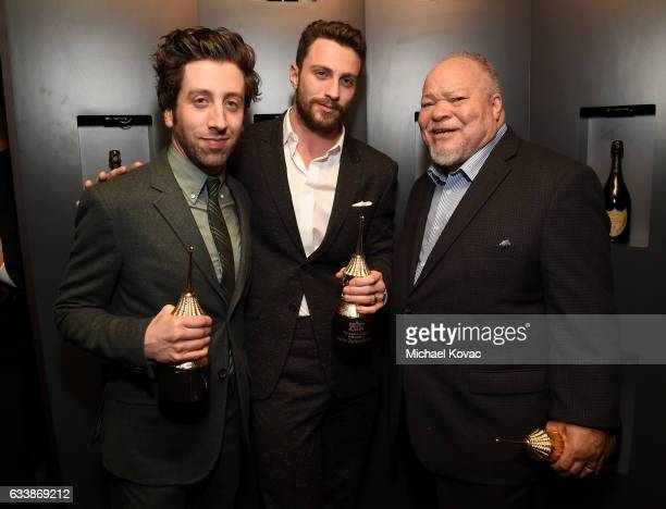 Actors Simon Helberg Aaron Taylor Johnson and Stephen Henderson visit the Dom Perignon Lounge after receiving the Virtuosos Award at The Santa...