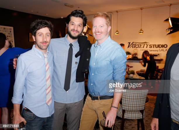 Actors Simon Helberg Ben Schwartz and Jesse Tyler Ferguson attend the Variety Studio powered by Samsung Galaxy on May 28 2014 in West Hollywood...