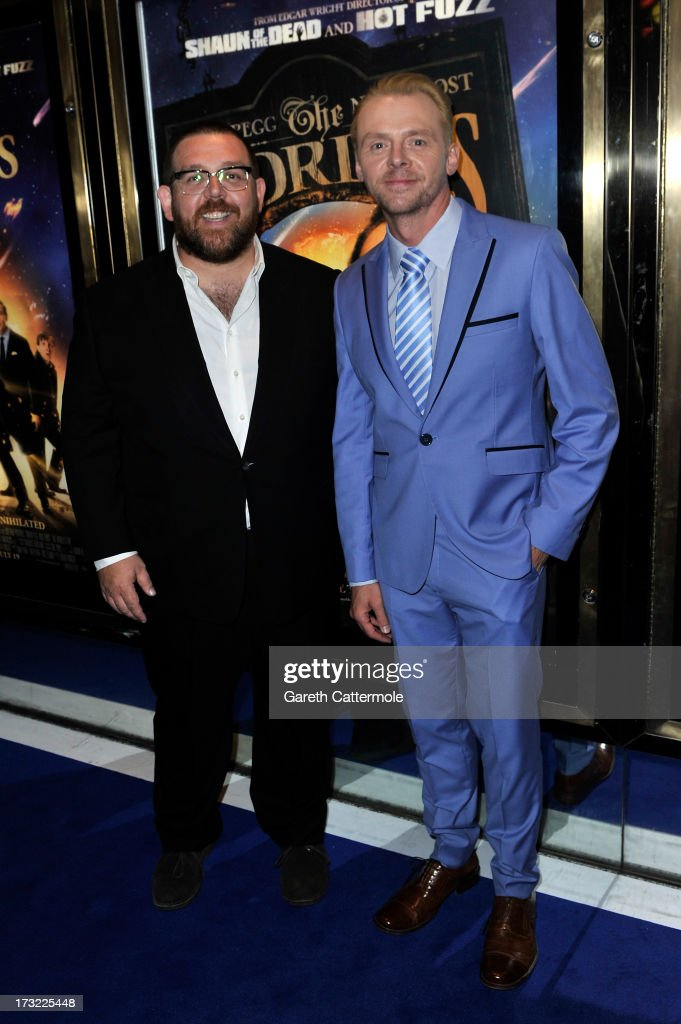 Actors <a gi-track='captionPersonalityLinkClicked' href=/galleries/search?phrase=Simon+Pegg&family=editorial&specificpeople=206280 ng-click='$event.stopPropagation()'>Simon Pegg</a> and Nick Frost attend the World Premiere of The World's End at Empire Leicester Square on July 10, 2013 in London, England.