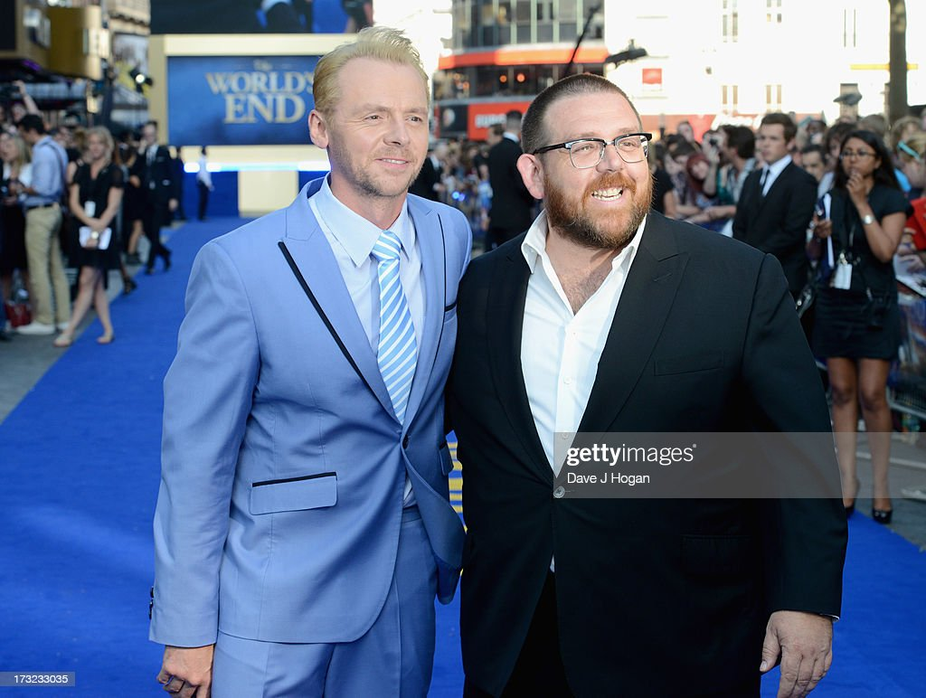 Actors <a gi-track='captionPersonalityLinkClicked' href=/galleries/search?phrase=Simon+Pegg&family=editorial&specificpeople=206280 ng-click='$event.stopPropagation()'>Simon Pegg</a> and Nick Frost attend 'The World's End' world premiere at the Empire Leicester Square on July 10, 2013 in London, England.