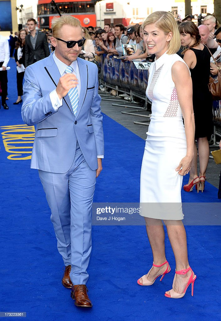 Actors Simon Pegg and Rosamund Pike attend 'The World's End' world premiere at the Empire Leicester Square on July 10, 2013 in London, England.