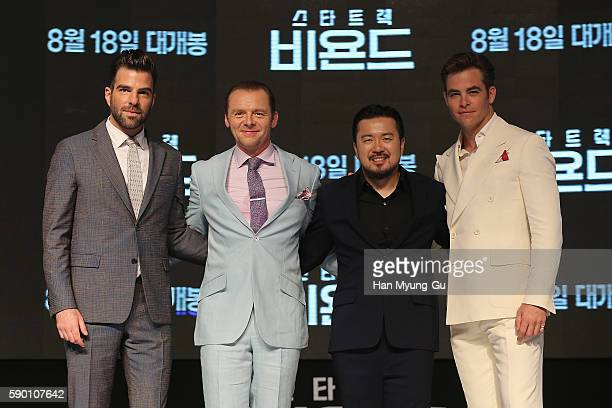 Actors Simon Pegg Chris Pine Zachary Quinto and director Justin Lin attend the Fan Screening of the Paramount Pictures title 'Star Trek Beyond' on...