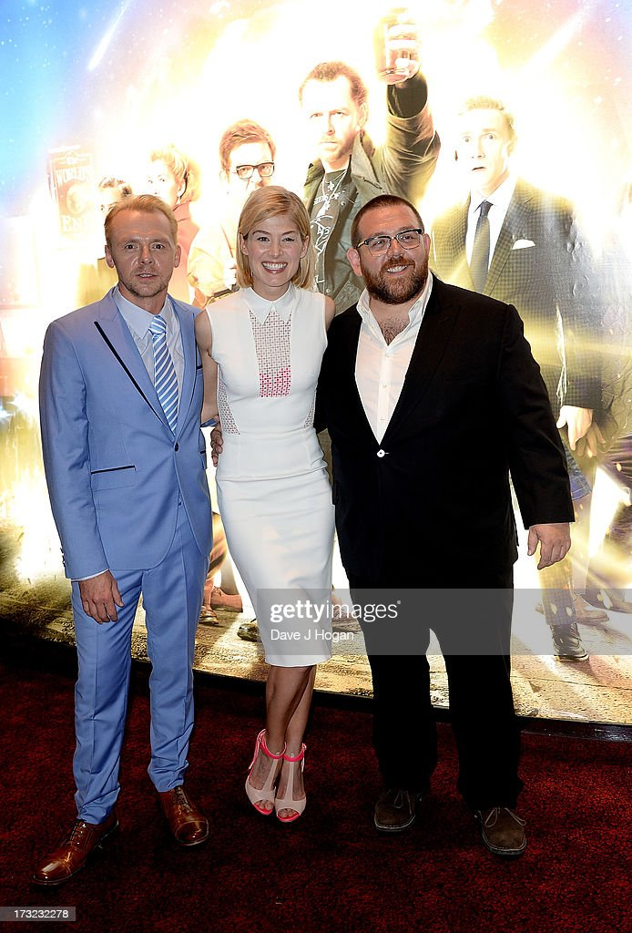 Actors <a gi-track='captionPersonalityLinkClicked' href=/galleries/search?phrase=Simon+Pegg&family=editorial&specificpeople=206280 ng-click='$event.stopPropagation()'>Simon Pegg</a>, <a gi-track='captionPersonalityLinkClicked' href=/galleries/search?phrase=Rosamund+Pike&family=editorial&specificpeople=208910 ng-click='$event.stopPropagation()'>Rosamund Pike</a> and Nick Frost attend 'The World's End' world premiere at the Empire Leicester Square on July 10, 2013 in London, England.