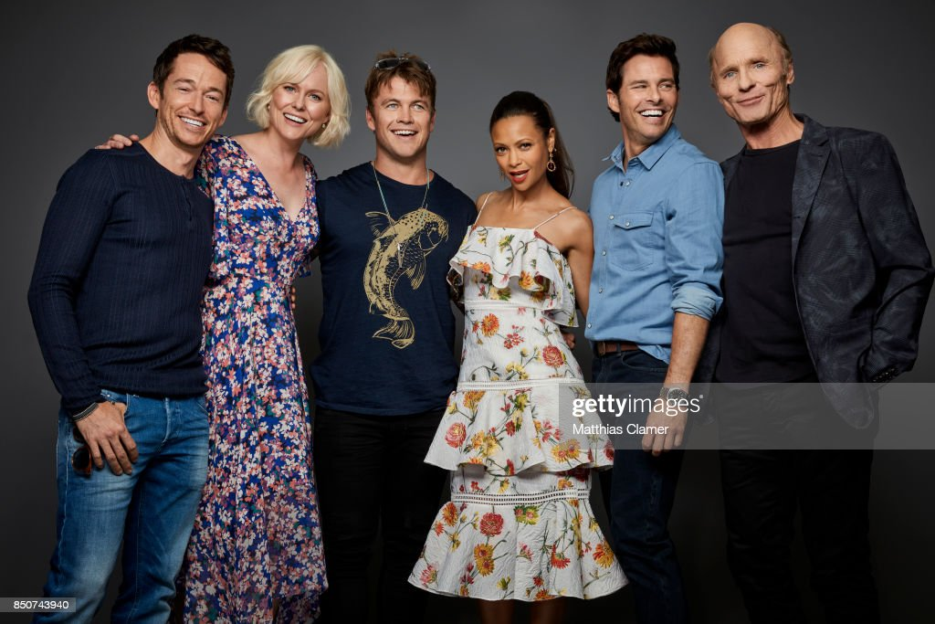 Actors Simon Quarterman, Ingrid Bolso Berdal, Luke Hemswortth, Thandie Newton, James Marsden and Ed Harris from Westworld are photographed for Entertainment Weekly Magazine on July 22, 2017 at Comic Con in San Diego, California. PUBLISHED