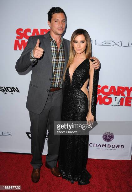 Actors Simon Rex and Ashley Tisdale arrive at the 'Scary Movie V' Los Angeles premiere at ArcLight Cinemas Cinerama Dome on April 11 2013 in...