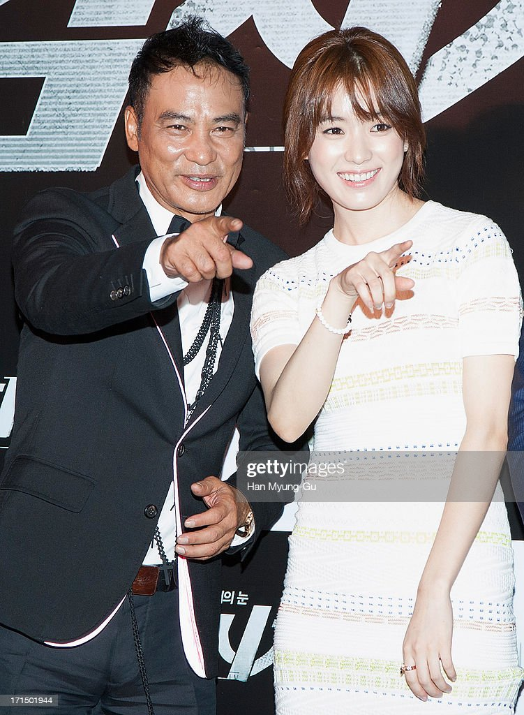 Actors <a gi-track='captionPersonalityLinkClicked' href=/galleries/search?phrase=Simon+Yam&family=editorial&specificpeople=560050 ng-click='$event.stopPropagation()'>Simon Yam</a> from China and <a gi-track='captionPersonalityLinkClicked' href=/galleries/search?phrase=Han+Hyo-Joo&family=editorial&specificpeople=4474825 ng-click='$event.stopPropagation()'>Han Hyo-Joo</a> attend during the 'Cold Eyes' VIP screening at Coex Mega Box on June 25, 2013 in Seoul, South Korea. The film will open on July 03 in South Korea.