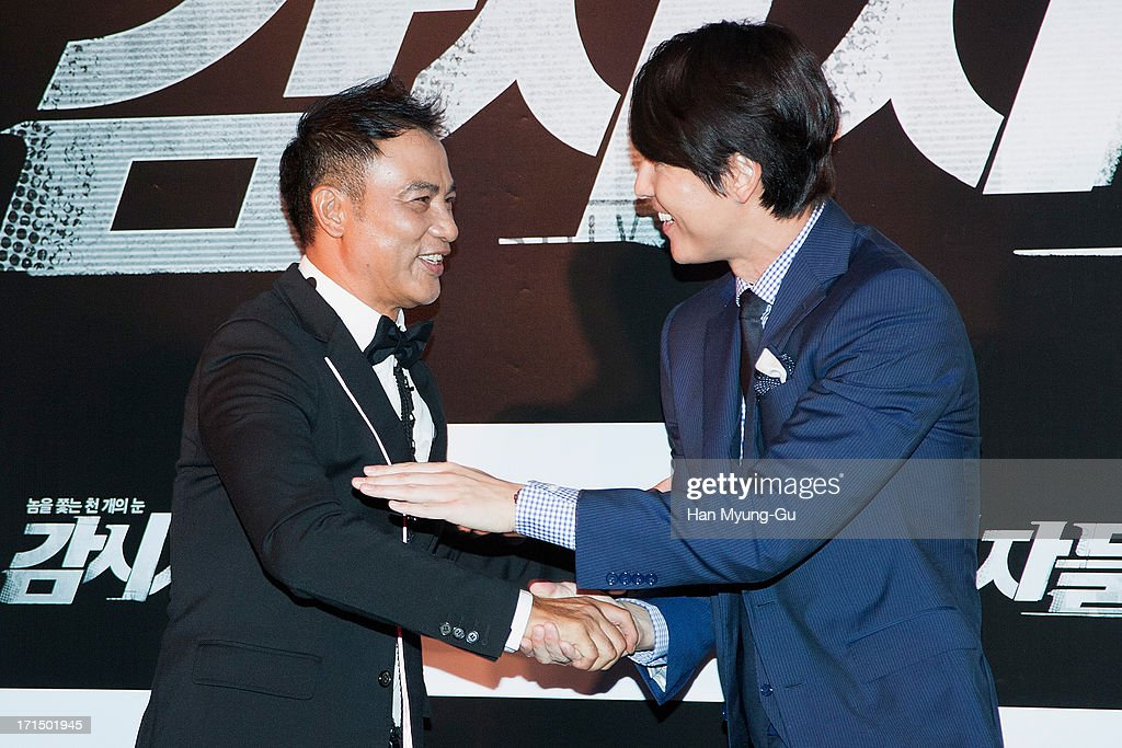 Actors <a gi-track='captionPersonalityLinkClicked' href=/galleries/search?phrase=Simon+Yam&family=editorial&specificpeople=560050 ng-click='$event.stopPropagation()'>Simon Yam</a> from China and Jung Woo-Sung attend during the 'Cold Eyes' VIP screening at Coex Mega Box on June 25, 2013 in Seoul, South Korea. The film will open on July 03 in South Korea.