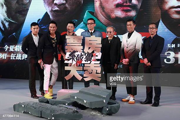 Actors Simon Yam Wu Jing director Andrew Lau and Louis Koo attend 'A Time for Consequences' press conference on June 16 2015 in Beijing China