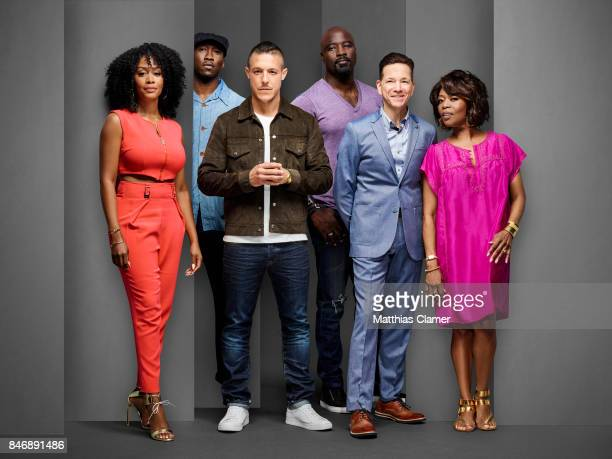 Actors Simone Missick Mahershala Ali Mike Colter Theo Rossi Frank Whaley and Alfre Woodard from 'Marvels Luke Cage' are photographed for...
