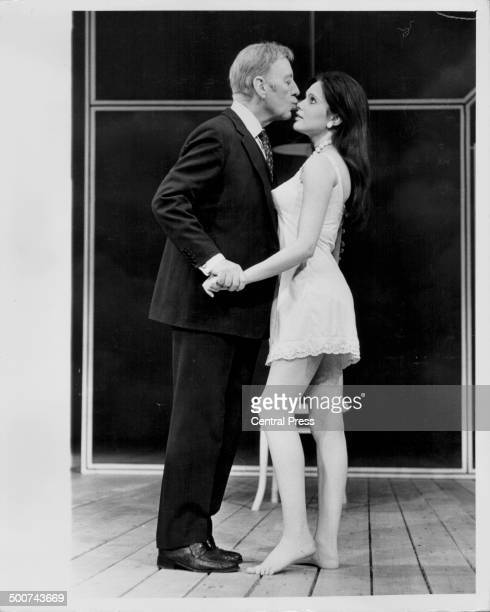 Actors Sir Alec Guinness and Madeline Smith on stage in the play 'Habeas Corpus' at the Lyric Theatre London May 9th 1973