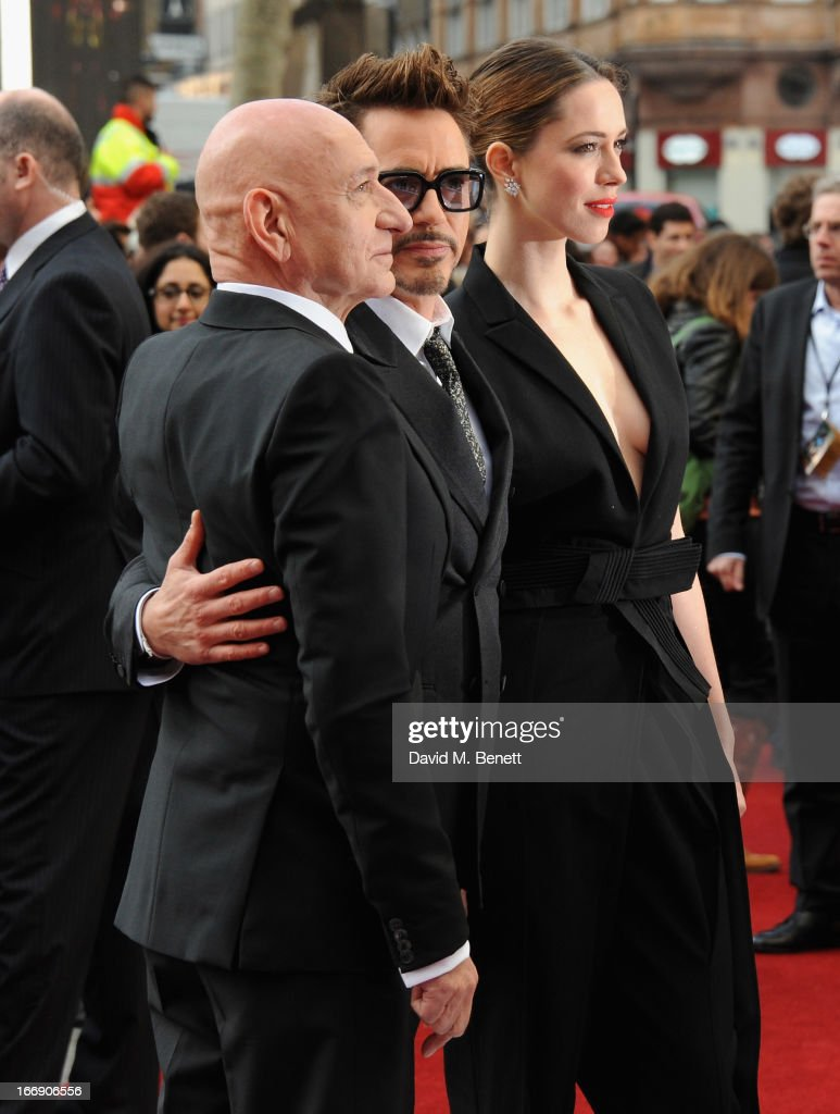 Actors <a gi-track='captionPersonalityLinkClicked' href=/galleries/search?phrase=Sir+Ben+Kingsley&family=editorial&specificpeople=699878 ng-click='$event.stopPropagation()'>Sir Ben Kingsley</a>, Robert Downey Jr and <a gi-track='captionPersonalityLinkClicked' href=/galleries/search?phrase=Rebecca+Hall&family=editorial&specificpeople=778176 ng-click='$event.stopPropagation()'>Rebecca Hall</a> attend the 'Iron Man 3' Special Screening at the Odeon Leicester Square on April 18, 2013 in London, England.