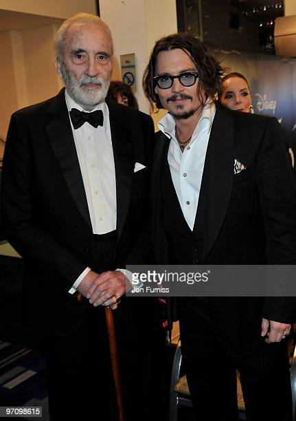 Actors Sir Christopher Lee and Johnny Depp attend the Royal World Premiere of Tim Burton's 'Alice In Wonderland' at the Odeon Leicester Square on...