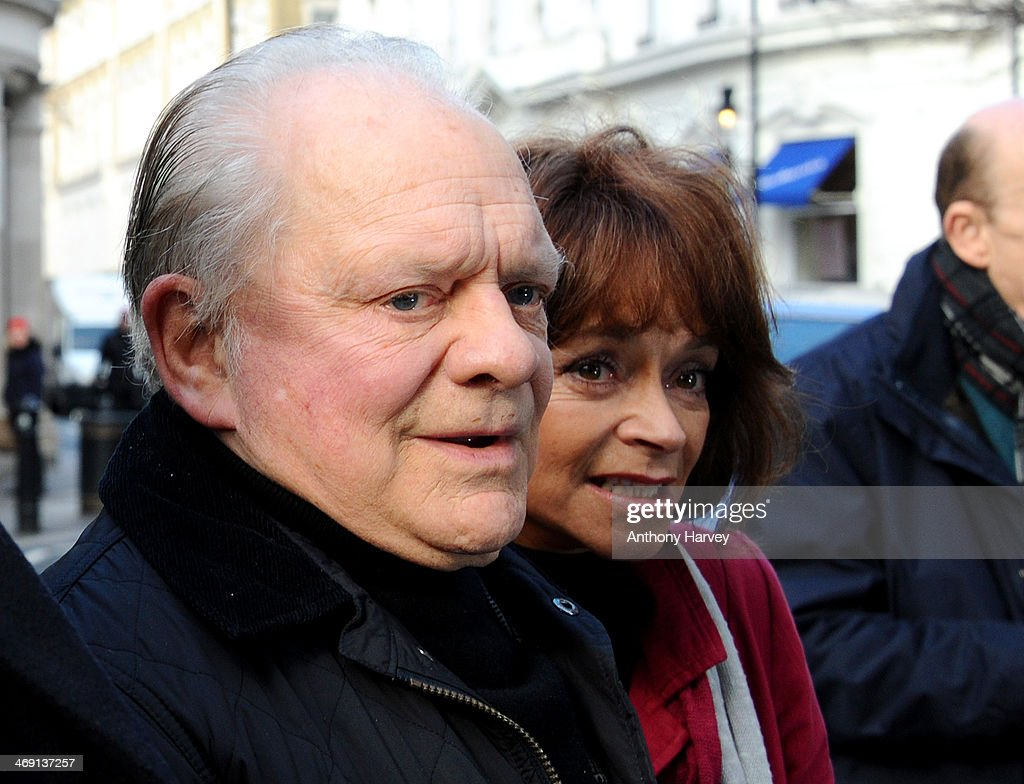 Actors Sir <a gi-track='captionPersonalityLinkClicked' href=/galleries/search?phrase=David+Jason&family=editorial&specificpeople=228403 ng-click='$event.stopPropagation()'>David Jason</a> and Sue Holderness attend the funeral of actor Roger Lloyd-Pack at St Paul's Church on February 13, 2014 in London, England.
