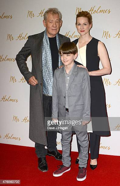 Actors Sir Ian McKellen Laura Linney and Milo Parker attend the UK Premiere of 'Mr Holmes' at the Odeon Kensington on June 10 2015 in London England