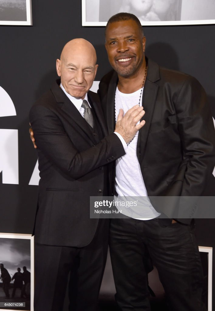 Actors Sir Patrick Stewart and Eriq La Salle attend the 'Logan' New York special screening at Rose Theater, Jazz at Lincoln Center on February 24, 2017 in New York City.