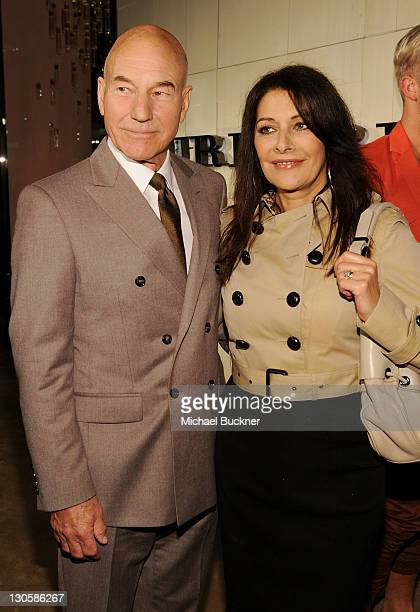 Actors Sir Patrick Stewart and Marina Sirtis arrive at the Burberry Body Event hosted by Christopher Bailey and Rosie HuntingtonWhiteley held at...
