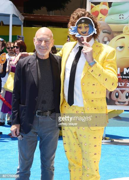 Actors Sir Patrick Stewart and TJ Miller arrive at the Premiere Of Columbia Pictures And Sony Pictures Animation's 'The Emoji Movie' at Regency...