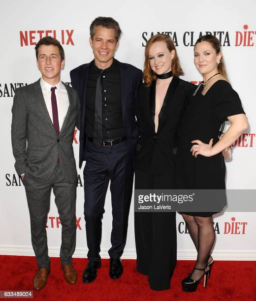 Actors Skyler Gisondo Timothy Olyphant Drew Barrymore and Liv Hewson attend the premiere of 'Santa Clarita Diet' at ArcLight Cinemas Cinerama Dome on...
