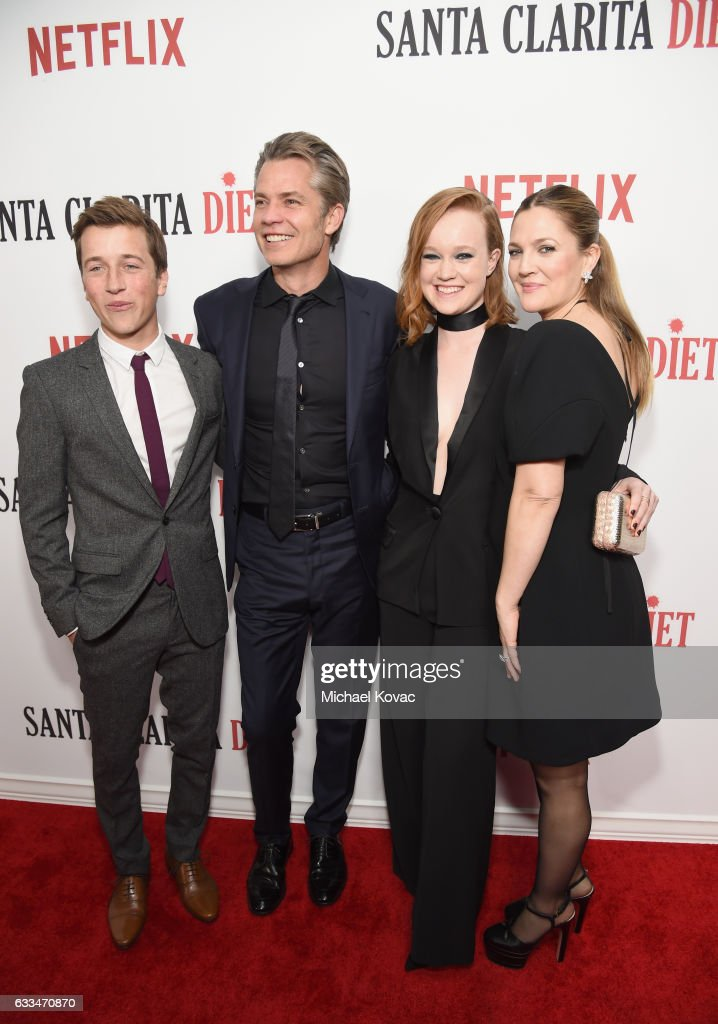 Actors Skyler Gisondo, Timothy Olyphant, Liv Hewson and Drew Barrymore attend the 'Santa Clarita Diet' Premiere on February 1, 2017 in Los Angeles, California.