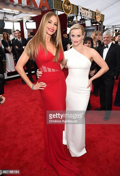 Actors Sofía Vergara and Reese Witherspoon attend TNT's 21st Annual Screen Actors Guild Awards at The Shrine Auditorium on January 25 2015 in Los...