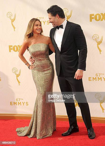 Actors Sofia Vergara and Joe Manganiello arrive at the 67th Annual Primetime Emmy Awards at Microsoft Theater on September 20 2015 in Los Angeles...