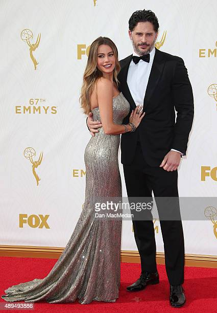 Actors Sofia Vergara and Joe Manganiello arrive at the 67th Annual Primetime Emmy Awards at the Microsoft Theater on September 20 2015 in Los Angeles...