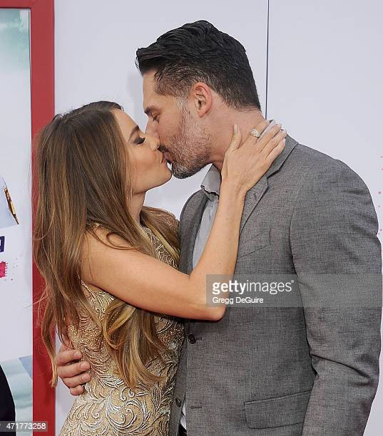 Actors Sofia Vergara and Joe Manganiello arrive at the Los Angeles premiere of 'Hot Pursuit' at TCL Chinese Theatre IMAX on April 30 2015 in...