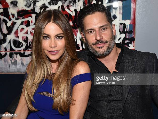 Actors Sofia Vergara and Joe Manganiello pose backstage at The 2015 MTV Movie Awards at Nokia Theatre LA Live on April 12 2015 in Los Angeles...