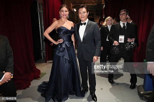 Actors Sofia Vergara and Lee Byunghun backstage at the 88th Annual Academy Awards at Dolby Theatre on February 28 2016 in Hollywood California