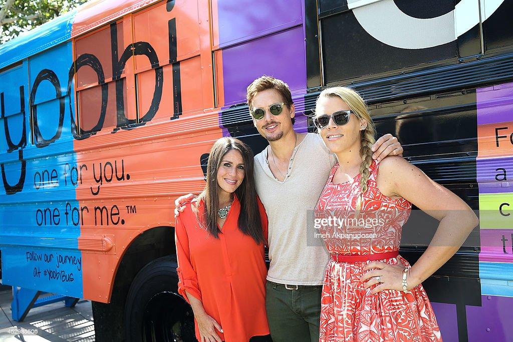 Actors Soleil Moon Frye Peter Facinelli and Busy Philipps attend Yoobi Fun Day at The Grove on July 31 2014 in Los Angeles California