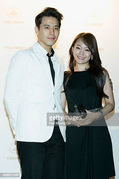 Actors Son JunHo and Kim SoHyun attend 'COLOMBO' launching party on October 1 2014 in Seoul South Korea