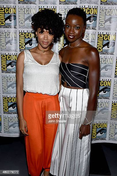 Actors Sonequa MartinGreen and Danai Gurira attend AMC's 'The Walking Dead' at ComicCon 2015 on July 10 2015 in San Diego California