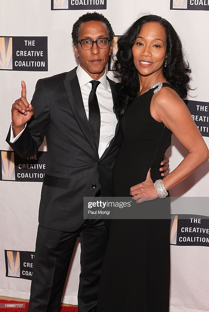 Actors <a gi-track='captionPersonalityLinkClicked' href=/galleries/search?phrase=Sonja+Sohn&family=editorial&specificpeople=224865 ng-click='$event.stopPropagation()'>Sonja Sohn</a> (R) and Andre Royo attend The Creative Coalition's 2013 Inaugural Ball on January 21, 2013 in Washington, United States.