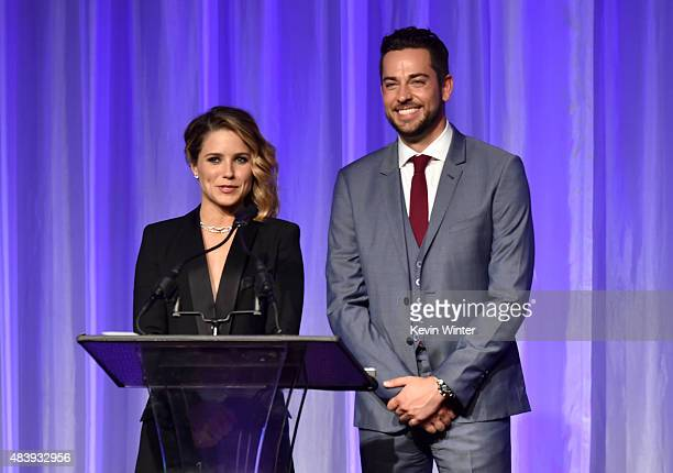 Actors Sophia Bush and Zachary Levi accept grant on behalf of Coalition of Asian Pacifics Echo Park Film Center and USC Cinematic Arts Engineering...