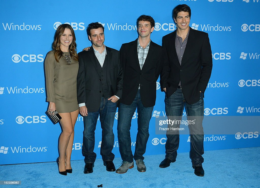 Actors Sophia Bush, David Krumholtz, Michael Urie, and Brandon Routh arrive at CBS 2012 fall premiere party held at Greystone Manor Supperclub on September 18, 2012 in West Hollywood, California.