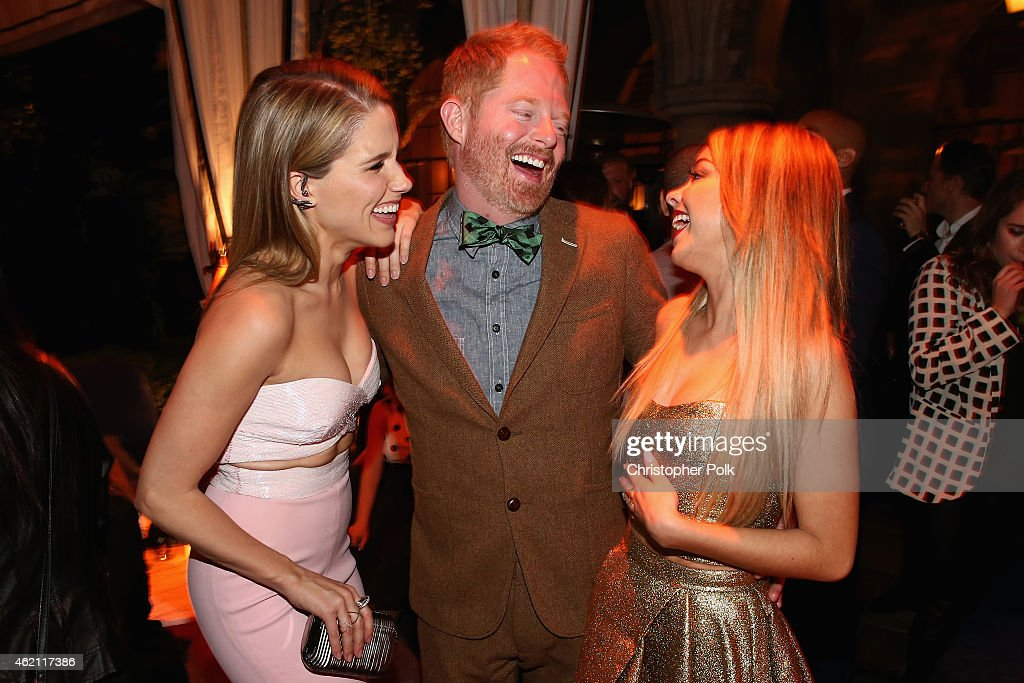 Actors Sophia Bush Jesse Tyler Ferguson and Sarah Hyland attend Entertainment Weekly's celebration honoring the 2015 SAG awards nominees at Chateau...