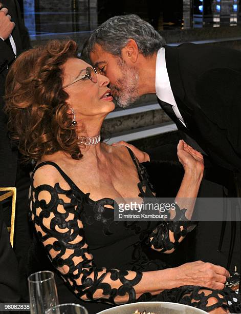 Actors Sophia Loren and George Clooney attend the TNT/TBS broadcast of the 16th Annual Screen Actors Guild Awards at the Shrine Auditorium on January...