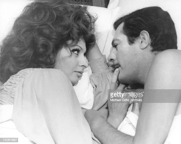 Actors Sophia Loren and Marcello Mastroianni in the film 'Marriage Italian Style' Photo by Michael Ochs Archives/Getty Images