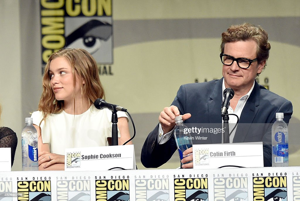 Actors Sophie Cookson and Colin Firth attend the 20th Century Fox presentation during Comic-Con International 2014 at San Diego Convention Center on July 25, 2014 in San Diego, California.