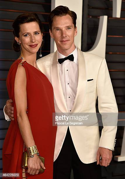 Actors Sophie Hunter and Benedict Cumberbatch attend the 2015 Vanity Fair Oscar Party hosted by Graydon Carter at Wallis Annenberg Center for the...