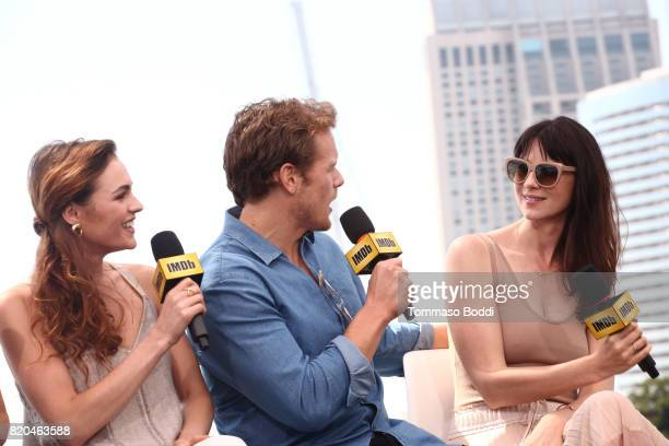 Actors Sophie Skelton Sam Heughan and Caitriona Balfe on the #IMDboat at San Diego ComicCon 2017 at The IMDb Yacht on July 21 2017 in San Diego...