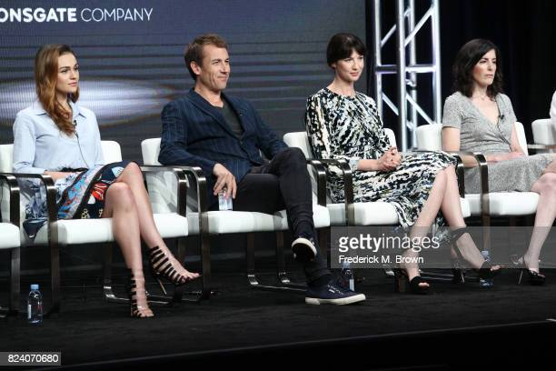 Actors Sophie Skelton Tobias Menzies Caitriona Balfe and executive producer Maril Davis speak onstage during the Starz portion of the 2017 Summer...