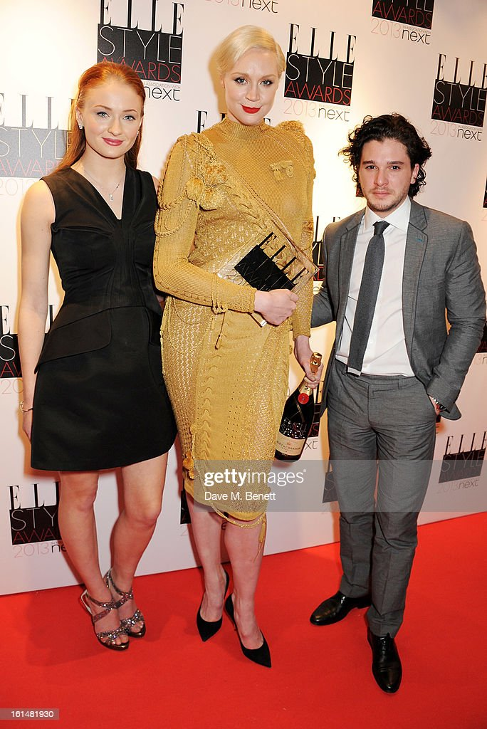 Actors Sophie Turner, Gwendoline Christie and Kit Harington accept the Best TV Show winner for Game of Thrones in the press room at the Elle Style Awards at The Savoy Hotel on February 11, 2013 in London, England.
