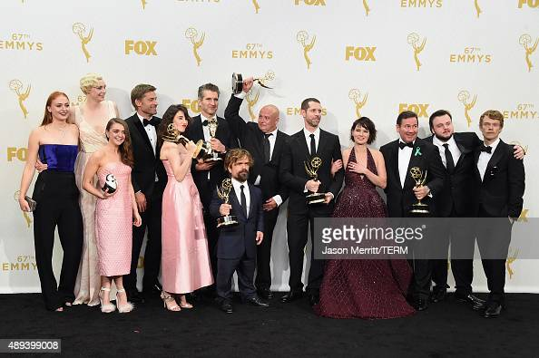 Actors Sophie Turner Gwendoline Christie Maisie Williams Nikolaj CosterWaldau Carice van Houten writer David Benioff actor Peter Dinklage Conleth...