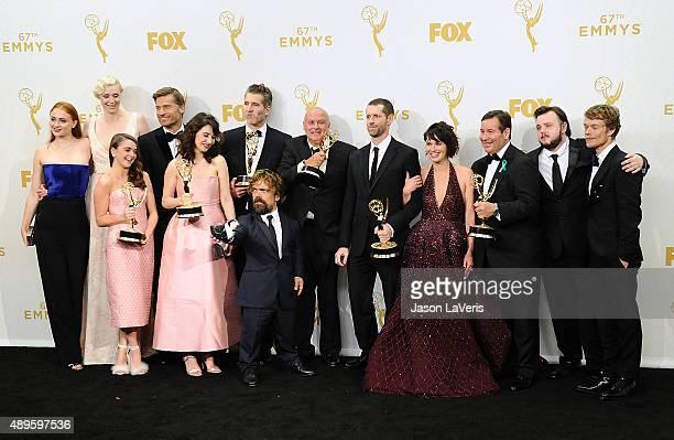 Actors Sophie Turner Gwendoline Christie Maisie Williams Nikolaj CosterWaldau Carice van Houten writer David Benioff actor Peter Dinklage Conleth...