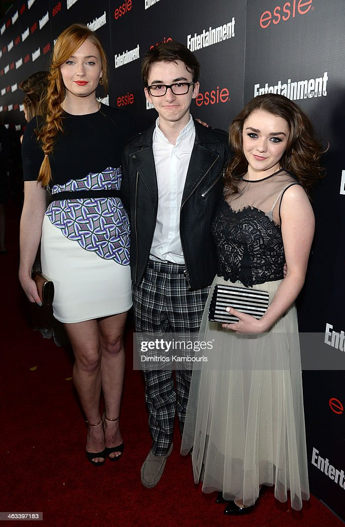 Actors <a gi-track='captionPersonalityLinkClicked' href=/galleries/search?phrase=Sophie+Turner+-+Actress&family=editorial&specificpeople=11657140 ng-click='$event.stopPropagation()'>Sophie Turner</a>, <a gi-track='captionPersonalityLinkClicked' href=/galleries/search?phrase=Isaac+Hempstead-Wright&family=editorial&specificpeople=8569905 ng-click='$event.stopPropagation()'>Isaac Hempstead-Wright</a>, <a gi-track='captionPersonalityLinkClicked' href=/galleries/search?phrase=Maisie+Williams&family=editorial&specificpeople=1766400 ng-click='$event.stopPropagation()'>Maisie Williams</a> attend the Entertainment Weekly celebration honoring this year's SAG Awards nominees sponsored by TNT & TBS and essie at Chateau Marmont on January 17, 2014 in Los Angeles, California.