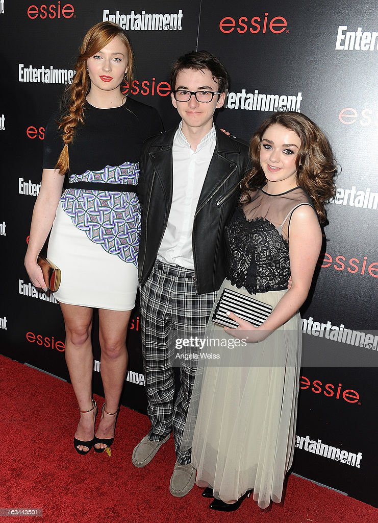 A(L-R) Actors Sophie Turner, Isaac Hempstead-Wright, Maisie Williams attend the Entertainment Weekly celebration honoring this year's SAG Awards nominees sponsored by TNT & TBS and essie at Chateau Marmont on January 17, 2014 in Los Angeles, California.