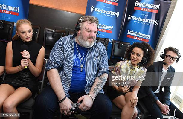 Actors Sophie Turner Kristian Nairn Nathalie Emmanuel and Isaac Hempstead Wright attend SiriusXM's Entertainment Weekly Radio Channel Broadcasts From...